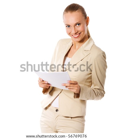 Businesswoman holding papers got idea isolated on white - stock photo