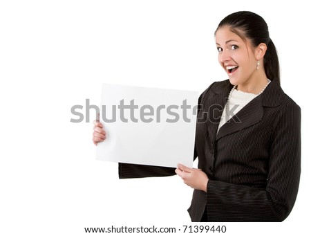 businesswoman holding sign with copy space
