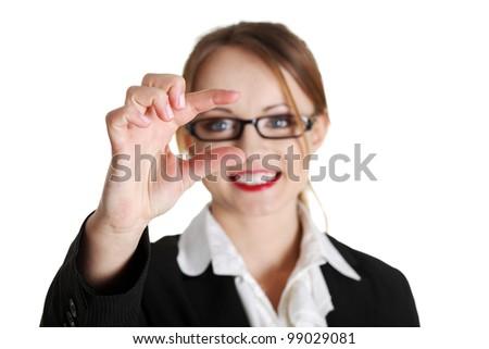 Businesswoman holding something, isolated on white background - stock photo