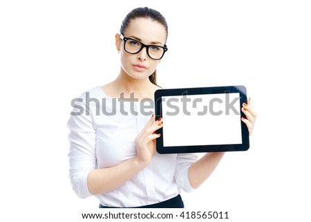 Businesswoman holding tablet in hands