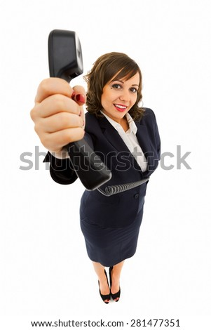 Businesswoman holding telephone receiver isolated on white background shot with wide angle lenses - stock photo