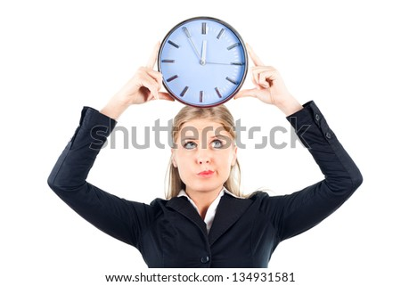Businesswoman holding wall clock,Time
