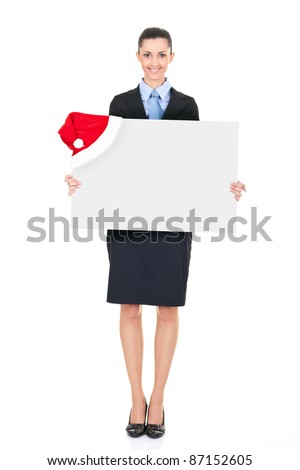 businesswoman holding  white blank billboard with santa hat, isolated on white background - stock photo
