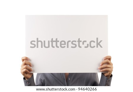 businesswoman holding white board - stock photo