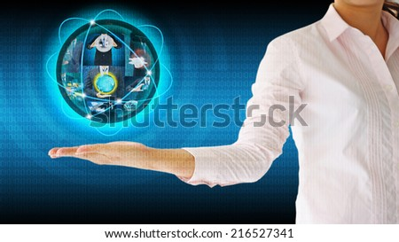 Businesswoman holding world .Technology business concept - stock photo