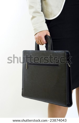 Businesswoman holds a briefcase