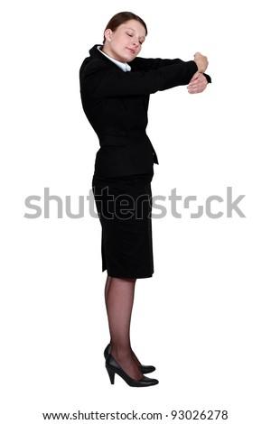 Businesswoman hugging - stock photo