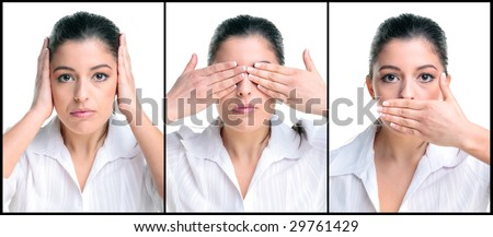 Businesswoman image of the saying Hear no See no Speak no evil.