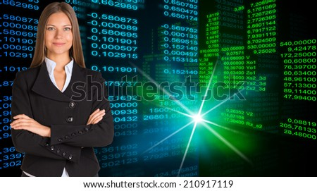 Businesswoman in a suit. Glowing figures