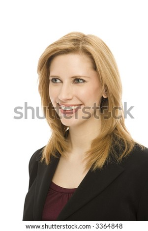 Businesswoman in a suit smiles