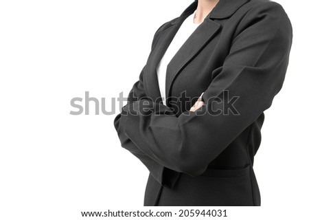 businesswoman in black suit cross one's arm isolated on white