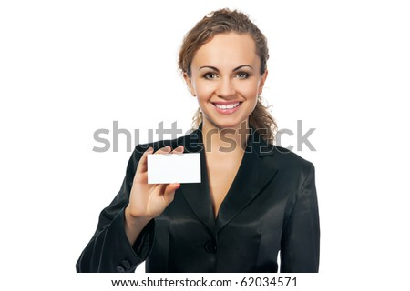 businesswoman in black suit holding blank empty sign. white background