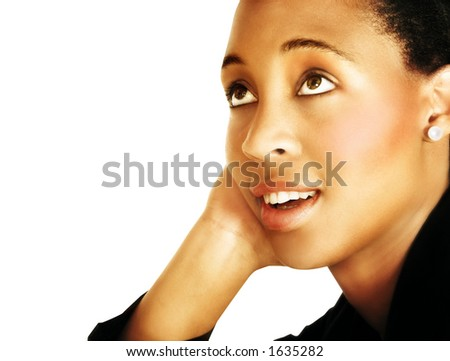 businesswoman in black suit leaning on her hand while thinking - stock photo