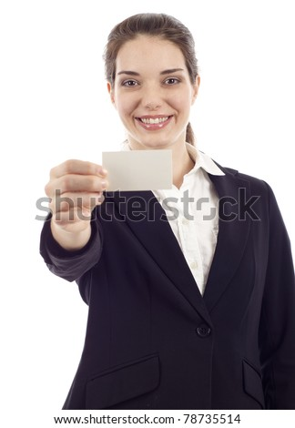 Businesswoman in black suit showing and handing a blank business card isolated over white background - stock photo