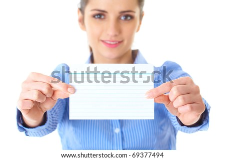 businesswoman in blue shirt shows empty card, isolated on white - stock photo