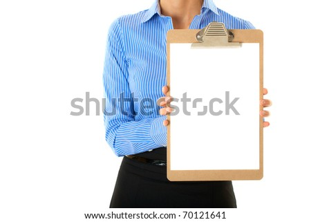 businesswoman in blue stripped shirt holds clipboard with A4 size white card, studio shoot isolated on white - stock photo