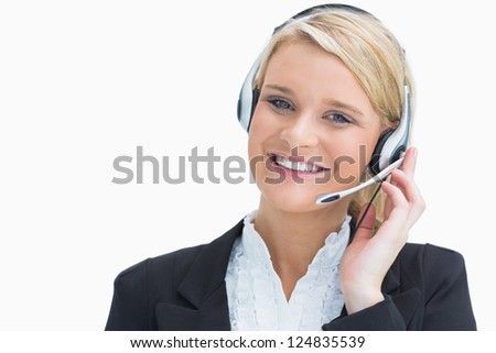 Businesswoman in call centre on a call