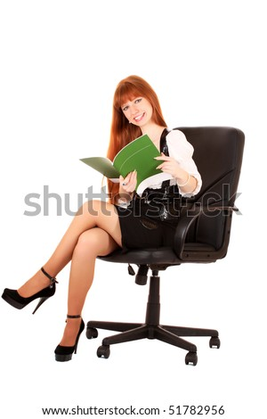 businesswoman in chair on white background - stock photo