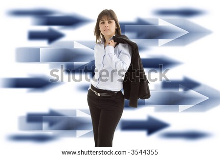 Businesswoman in front of an abstract background made with arrows - isolated in white background - stock photo