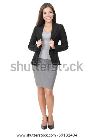 Businesswoman in full length confident, smiling and ready! Isolated on white background. Young mixed race Chinese / white woman model. - stock photo