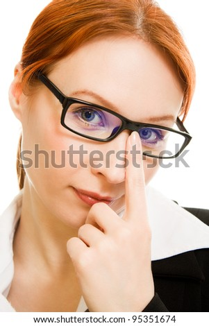 Businesswoman in glasses with red hair on a white background.