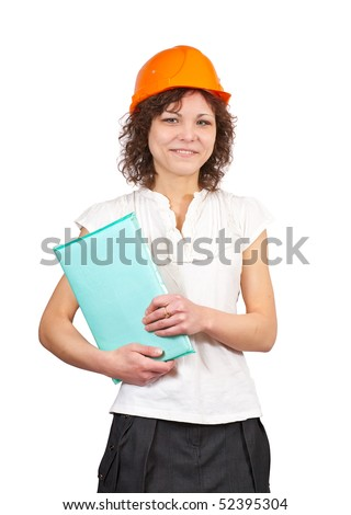 businesswoman in hard hat with documents  on white background - stock photo