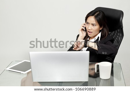 businesswoman in hurry - stock photo