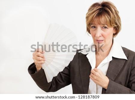 Businesswoman  in Menopause. - stock photo
