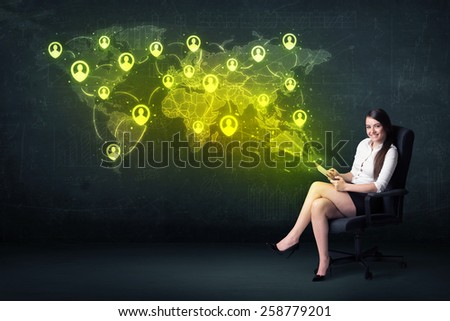 Businesswoman in office with tablet and social network world map concept on background - stock photo