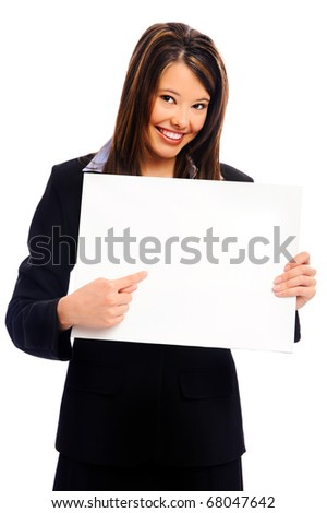 Businesswoman in suit holding an empty white sign, isolated on white