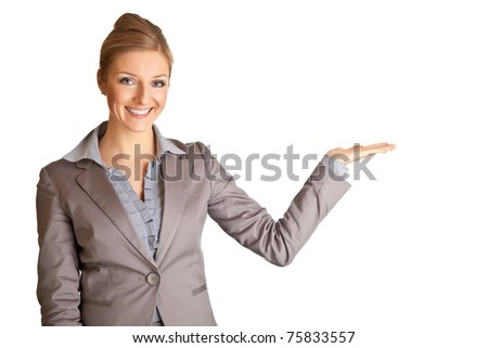 Businesswoman in suit pointing hand isolated on white - stock photo