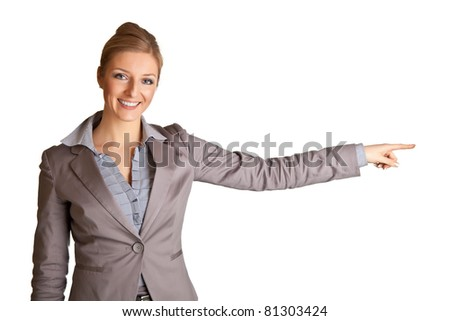 Businesswoman in suit pointing hand isolated on white