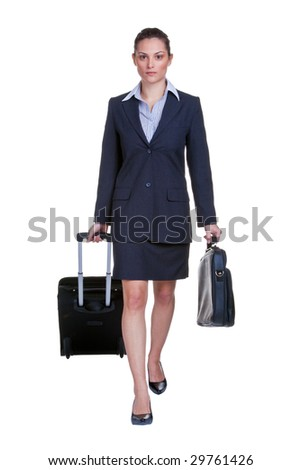 Businesswoman in suit with suitcase and briefcase, isolated on white background