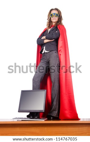 Businesswoman in superwoman concept - stock photo