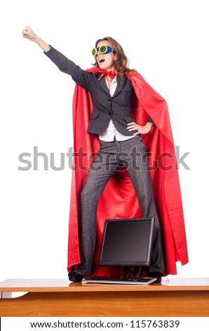 Businesswoman in superwoman concept - stock photo