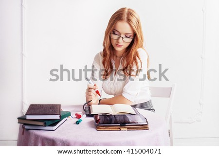 businesswoman in thinking about work. The concept of business and success.