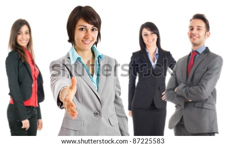 Businesswoman introducing her team - stock photo