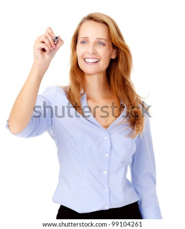 businesswoman is happy and draws business vision with marker while smiling - stock photo