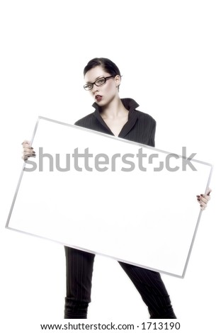 businesswoman is holding blank board - stock photo