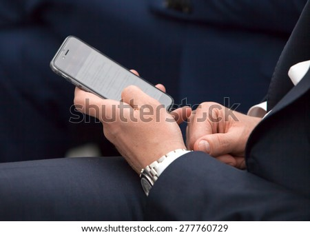 businesswoman is typing a message - stock photo
