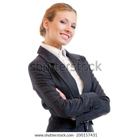Businesswoman, isolated on white - stock photo