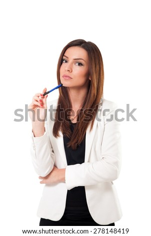 Businesswoman isolated on white background - stock photo