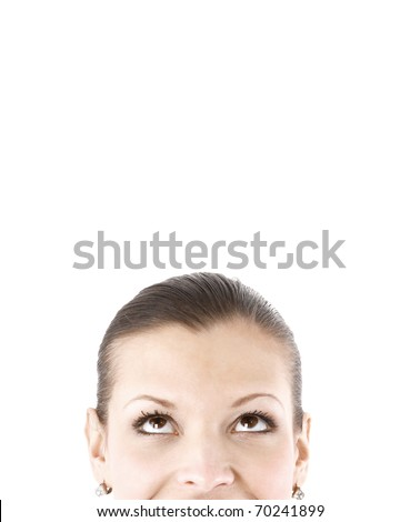 businesswoman isolated on white background. close up - stock photo