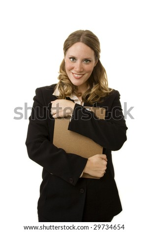 Businesswoman isolated on white holding a clipboard
