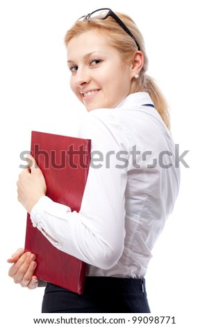 Businesswoman. Isolated over white.