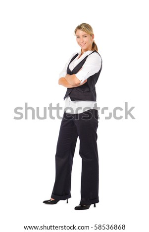 businesswoman isolated over white background - stock photo