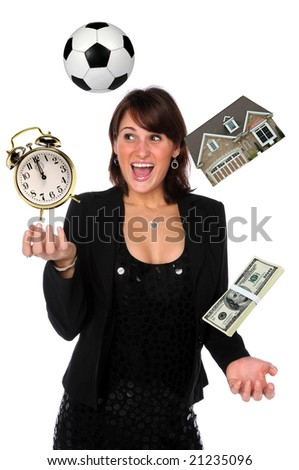 Businesswoman juggling responsibilities - stock photo