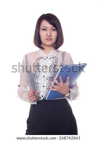 businesswoman, Kazakh girl, on a white background - stock photo