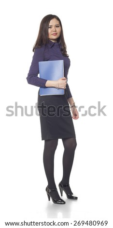 businesswoman, Kazakh girl, on a white background