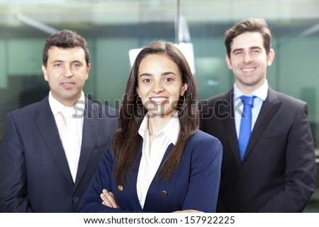 Businesswoman leader on the foreground of his team